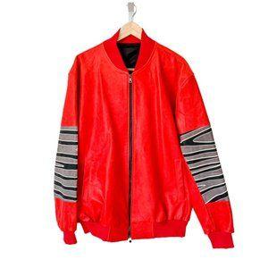 Custom Patched Sleeve Leather Jacket